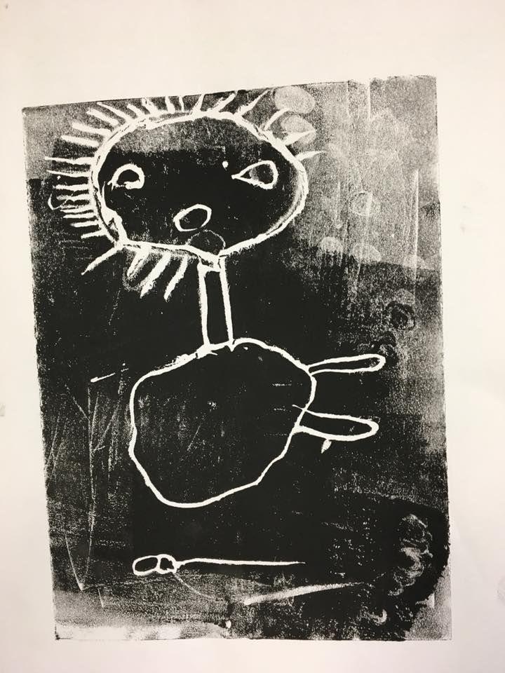 Foam print, Junior infants, Carrigduff NS, Artist Teacher Partnership, 2018