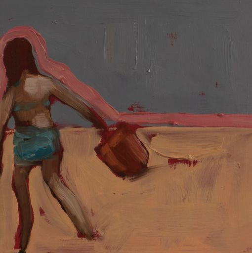 The new red bucket, Oil on ceramic tile, 20cm x 20cm, 2020